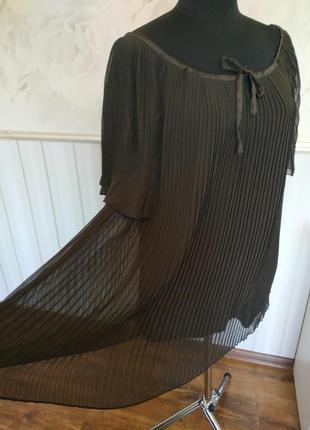 Плиссированная блуза шоколадного цвета размер м, наш 48-50.