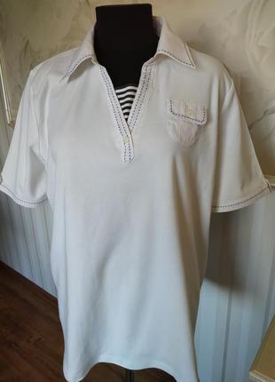Натуральная футболка поло в морском стиле, большого размера 24...