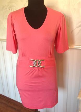 Коралловое платье-туника из трикотажной вискозы, размер s, наш...