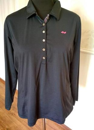 Трикотажная рубашка-поло с длинным рукавом, размер 50.