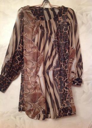 Шифоновое платье-туника на подкладке. размер 48-50.