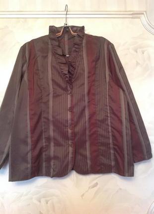 Стильный блузон в полоску, большой размер xxl, наш 60-62.
