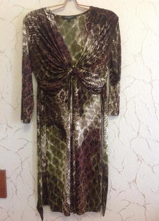 Красивое платье, трикотаж- масло, размер l, наш 50.
