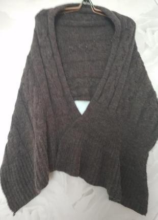 Шикарный итальянский теплый шарф, палантин цвета мокко