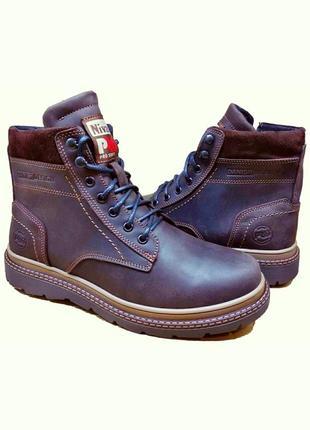 Мужские зимние кожаные ботинки шнурок-замок