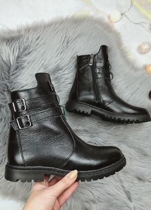 Новые шикарные женские зимние черные кожаные ботинки
