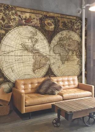 Карта мира 3D с текстурой времен Колумба 150 см х 190 см