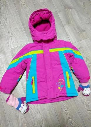 Детская зимняя теплая куртка  курточка на флисе для девочки