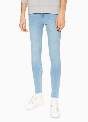 Джинсы скинни spray on skinny мужские брендовые светло-голубые...
