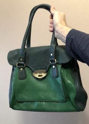 Зелёная женская сумочка , изумрудный цвет, кожзам