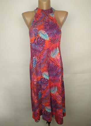 Платье вискозное трикотажное в орнамент с чекером uk 14/42/l