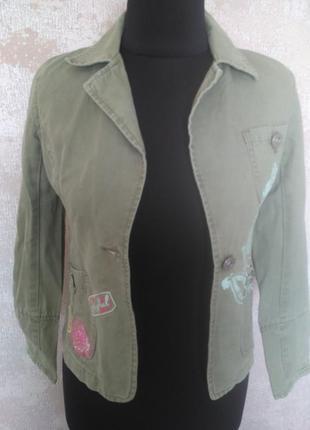 Стильная коттоновая куртка, на девочку 10-12 лет