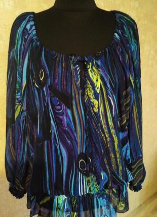 Французская  туника блузка лонгслив большой размер 52-54