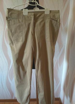 Отличные натуральные бежевые брюки большого размера, 50-52