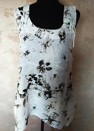 Красивая  льняная блуза  , размер 48-52