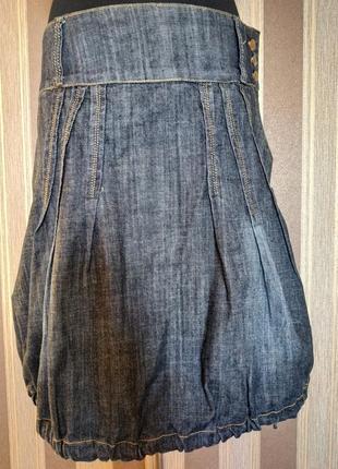 Очень крутая стильная джинсовая юбка с карманами, размер 44-46
