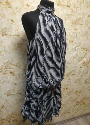 Стильное шифоновое платье на подкладке, размер  46-48