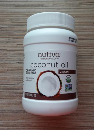 Nutiva, кокосовое масло холодного отжима (444 мл) США, Америка