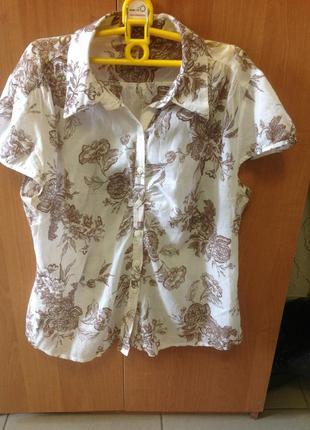 Отличная натуральная блуза -рубашка, размер 48-50