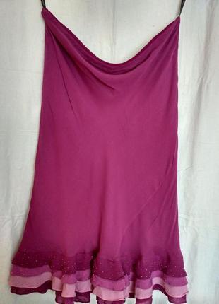Нарядная юбка в лиловых тонах,украшена бисером, размер 46-48