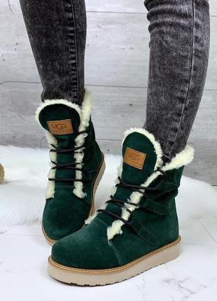 Зимние замшевые ботинки зелёного цвета, зимние зелёные ботинки...