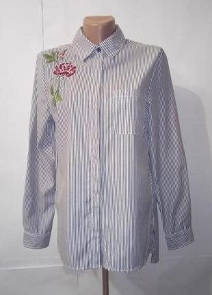 Блуза рубашка нарядная с вышивкой new look uk 10/38/s