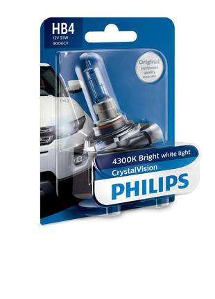 Авто лампа HB4 PHILIPS 55W 12V P22d Crystal Vision. Эффект Ксе...