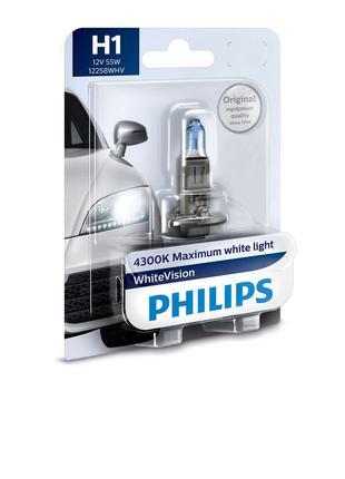 Авто лампа H1 PHILIPS 55W 12V (P14,5s) White Vision +60% (4300...