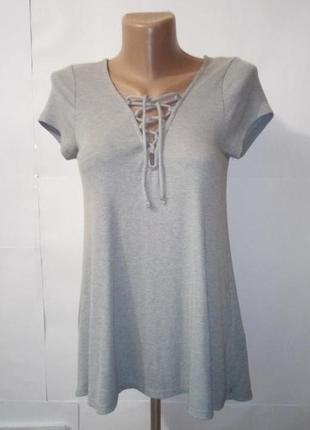 Блуза футболка стильная на шнуровке спереди hollister uk 10/38/s