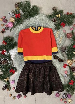 Актуальная теплая юбка мини расклешенная с люрексом №21