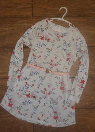 Теплое платье  mantaray с длинным рукавом на 8- 9 лет