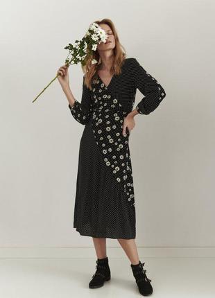 Новое платье миди в горошек и ромашки