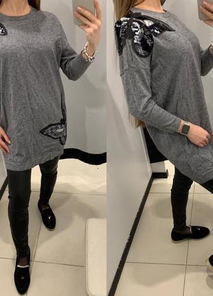 Шикарный серый свитер с пайетками туника mohito размер с