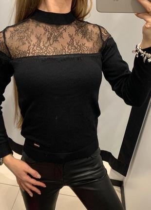 Чёрный свитер с кружевом кофта mohito есть размеры