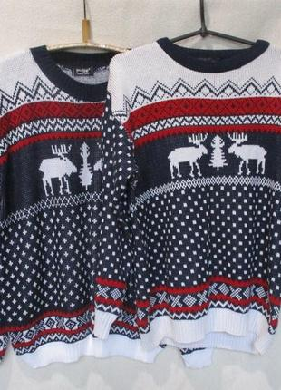 Цена за 2 шт новогодний свитер с оленями/family look/фемили лук