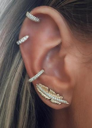 "Серьги клипсы ""luxury stones"", каффы, набор 4 шт, золото"