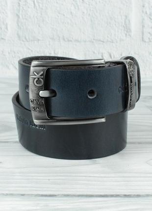 Кожаный ремень под джинсы 8008-421 синий 40 мм, итальянская кожа