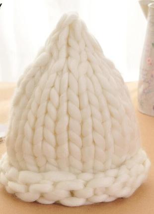 Шапка крупной вязки, вязаная шапка, біла