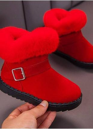 Ботинки для девочек зимние x & k красные