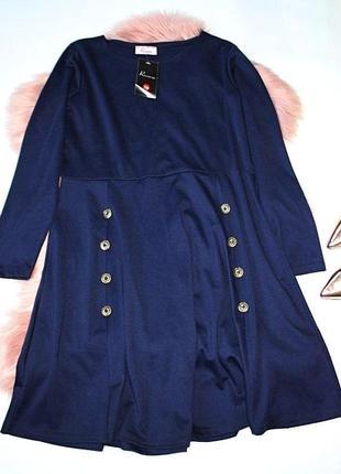 Платье новое с биркой теплое солнце клеш темно-синее с пуговиц...