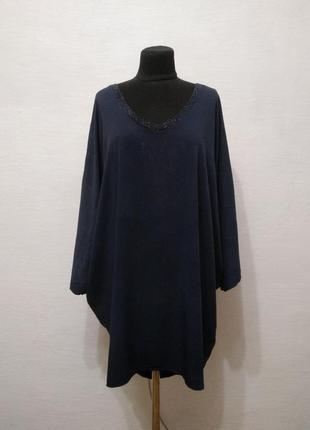 Стильная удлиненная блуза - туника большого размера