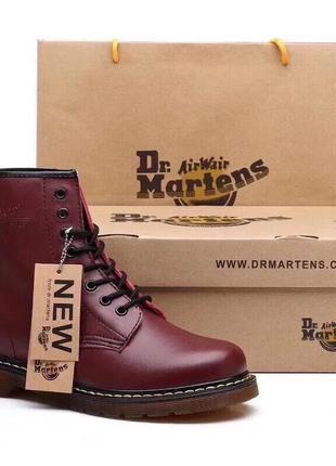 Зимние женские ботинки dr. martens 1460 cherry