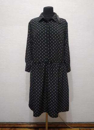 Стильное платье-рубаха в ромбик большого размера