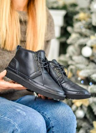 Зимние женские ugg neumel black leather