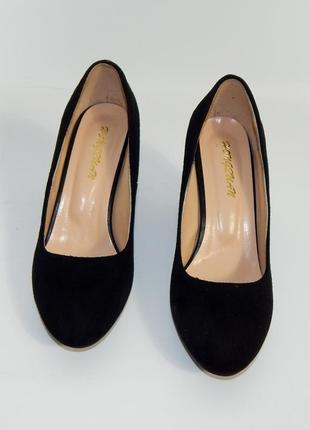 Туфли черные иск замш