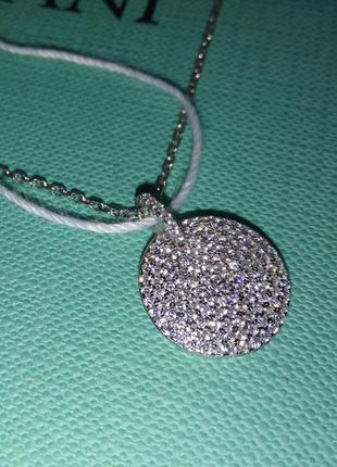 Серебряный подвес кулон с фианитами камнями круг серебро 925 п...