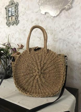 Круглая большая соломенная сумка !