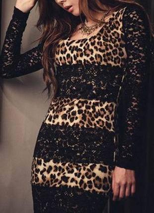 🎀👗🎀стильное женское леопардовое платье с кружевными, гипюровым...