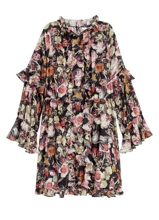 Красивое шифоновое платье цветочный принт