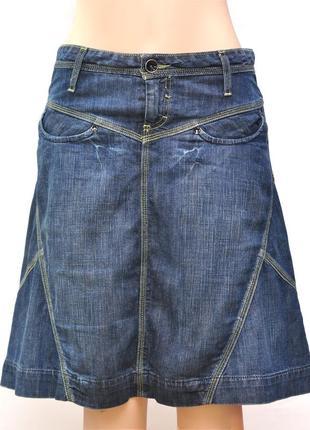 Джинсовая юбка ниже колен клеш